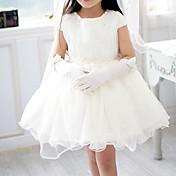 Una línea de corto / mini vestido de niña de flores - gasa Tulle mangas cortas joya cuello con perla