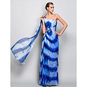 Vaina / columna un hombro piso longitud tul vestido de noche con el cristal de ts couture ®
