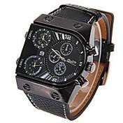 Oulm Hombre Reloj Militar Reloj de Pulsera Cuarzo Cuarzo Japonés Dos Husos Horarios Piel Banda Negro