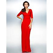 Funda / Columna Cuello en V Larga Jersey Vestido de Madrina - En Cruz Fruncido por TS Couture®