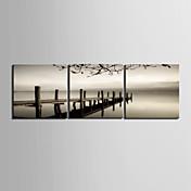Reproducción en lienzo Puente Landscape Art cruzar el mar Juego de 3