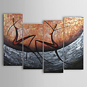 Pintada a mano Abstracto Cuatro Paneles Lienzos Pintura al óleo pintada a colgar For Decoración hogareña