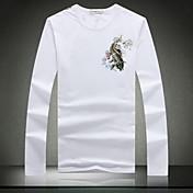 Camiseta De los hombres Estampado-Casual-Algodón / Elástico / Punto-Manga Larga-Negro / Blanco