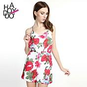 haoduoyi® Women's Ruffled Hem Cross Spaghetti Strap V-neck Backless Jumpsuits