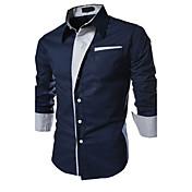 Hombre Simple Casual/Diario / Formal / Trabajo Para Todas las Temporadas Camisa,Cuello Camisero Un Color Manga Larga Algodón Multicolor