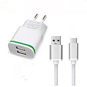 dual USB de la UE del cargador de pared enchufe adaptador USB 3.1 cable de carga de tipo C para f7 Doogee t3 cable del cargador de viaje