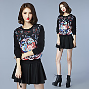 firmar 2016 mujeres Hitz suelta, cuello redondo impresa suéter patrón de color casual de manga larga