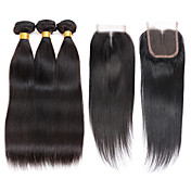 Cabello humano Cabello Brasileño Tejidos Humanos Cabello Liso Extensiones de cabello 4 Piezas Negro