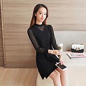 delgado coreano de tocar fondo de manga larga jersey vestido de punto de costura gasa y largas secciones signo