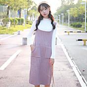 oportunidad real! la nueva correa de estudiante de lana vestido del bolsillo doble sección larga de la versión coreana del vestido de