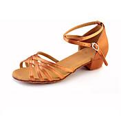 Zapatos de baile-No Personalizables-Mujer Niños-Latino-Tacón Bajo-Satén Encaje Sintético-