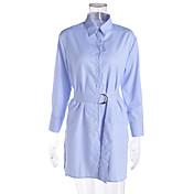 Mujer Camisa Vestido Casual/Diario Trabajo Simple,A Rayas Cuello Camisero Sobre la rodilla Manga Larga Algodón Primavera Verano Tiro Medio
