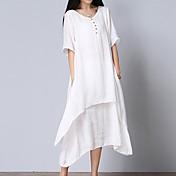 Mujer Corte Ancho Vestido Casual/Diario Simple,Un Color Escote en Pico Midi Manga Corta Blanco Algodón Verano Tiro Medio Rígido Medio
