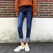 primavera versión coreana de los pantalones vaqueros simples pantimedias hembra jeans rectos ocasionales flojos pantalones acampanados a