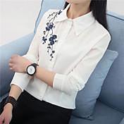 Firmar en la primavera de 2017 bordado nacional viento suelto delgado femenino de manga larga camisa blanca