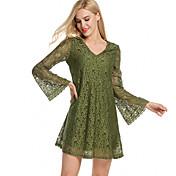 vestido de cóctel de la falda de ganchillo atractivo del v-cuello 2017 nueva canción europeo amplia Leisi vestido de verano