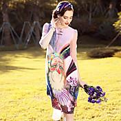 Mujer Corte Ancho Recto Vestido Noche Casual/Diario Playa Vintage Simple Sofisticado,Floral Escote Redondo Hasta la Rodilla 1/2 Manga Seda