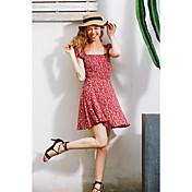 Los modelos de la explosión de los aliexpress resorte y las mujeres del verano visten la falda floral atractiva del cordón trasero delgado