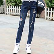 primavera signo nuevo agujero en los pantalones vaqueros de las mujeres de gran tamaño ocasional estudiante de grasa mm era delgada