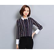 2017年春新ビッグ気質スリム長袖のストライプのシャツの袖シャツシャツ女性の職業