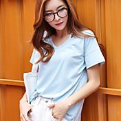 yokoは本当に2016年夏の新鮮な青い半袖Tシャツの女性ストレートジャケット女性の野生の中空