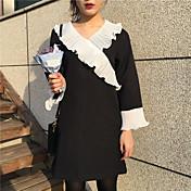 Signo chic super centavos corea flounced costura v-cuello de cobertura de temperamento salvaje vestido largo