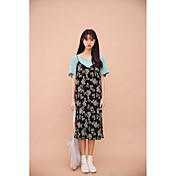 vestido de la correa plisada 2017 primavera y el verano de presión gasa coreana
