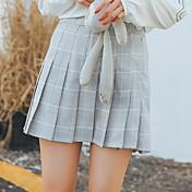 Signo mgj17年春款裙子系列学院风格子压褶半身裙女现货