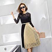 Vestido 2017 del cordón del ganchillo del color del encanto del temperamento de las señoras de las nuevas mujeres coreanas del resorte con