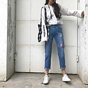 firmar el agujero de los pantalones vaqueros de moda versión coreana de pantalones harén pantalones de los pies marea mendigo bordado