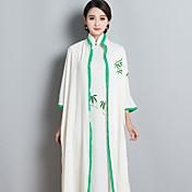 Mujer Corte Swing Vestido Fiesta/Cóctel Tejido Oriental,Bordado Escote en Pico Midi 3/4 Manga Otro Primavera Tiro Medio Microelástico Fino