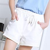 Mujer Sencillo Tiro Medio strenchy Chinos Shorts Pantalones,Corte Ancho Un Color