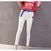 Mujer Sencillo Tiro Medio strenchy Chinos Pantalones,Pitillo Un Color