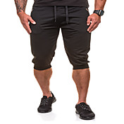 Hombre Sencillo Chic de Calle Activo Tiro Medio Micro-elástica Pantalones de Deporte Shorts Pantalones,Corte Ancho Delgado Un Color