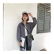 レディース カジュアル/普段着 春 シャツ,ストリートファッション シャツカラー ストライプ コットン 長袖 薄手