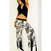 Mujer Sencillo Tiro Alto Microelástico Chinos Pantalones,Perneras anchas Un Color Camuflaje