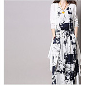 レディース 日常 春 シャツ ドレス スーツ,花型 ラウンドネック フラワー 3/4スリーブ マイクロエラスティック