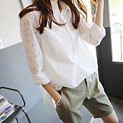 Mujer Vintage Casual Primavera Verano Camisa,Cuello Camisero Un Color Floral Manga Larga Brocado aplicado Fino