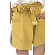 Mujer Chic de Calle Tiro Medio Microelástico Perneras anchas Pantalones,Holgado Un Color