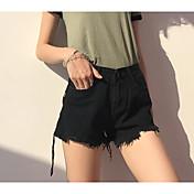 レディース ストリートファッション ハイウエスト ワイドレッグ 非弾性 ショーツ パンツ ソリッド