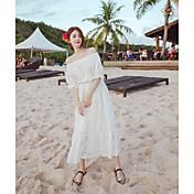 Mujer Corte Ancho Vestido Noche Un Color Escote Barco Midi Media Manga Algodón Primavera Tiro Alto Microelástico Fino