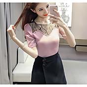 Mujer Regular Pullover Casual/Diario Simple,Un Color A Rayas Escote Redondo Manga Corta Algodón Otro Primavera Medio Elástico