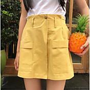 Mujer Sencillo Alta cintura Inelástica Shorts Pantalones,Perneras anchas Un Color