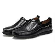 Hombre Zapatos PU Primavera Otoño Confort Zapatos de taco bajo y Slip-On Para Negro Marrón Claro Morrón Oscuro