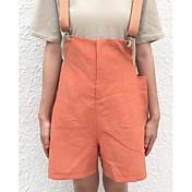 Mujer Sencillo Alta cintura Microelástico Shorts Pantalones,Holgado Un Color