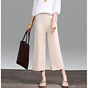 Mujer Sencillo Tiro Alto Microelástico Chinos Pantalones,Corte Ancho Un Color