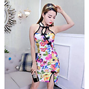 Mujer Corte Bodycon Vestido Noche Un Color Floral Estampado Escote Redondo Sobre la rodilla Sin Mangas Algodón Poliéster Verano Tiro Medio