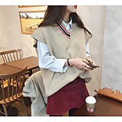 Mujer Regular Chaleco Casual/Diario Un Color A Rayas Escote en Pico Sin Mangas Otro Otoño Medio Microelástico