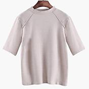 Mujer Chic de Calle Noche Casual/Diario Verano Camiseta,Escote Redondo Un Color Manga Corta Algodón Medio