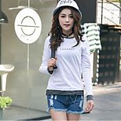 Mujer Simple Noche Camiseta,Escote Redondo Un Color Letra Manga Larga Algodón